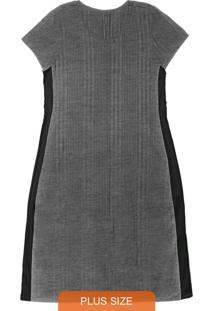 Vestido Midi Feminino Rovitex Plus Size Cinza