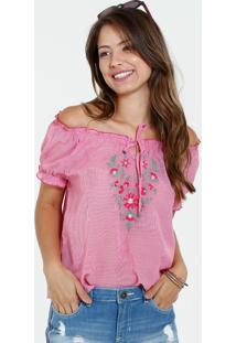 e94383fbee ... Blusa Feminina Ombro A Ombro Listrado Bordado Floral Marisa
