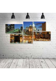 Quadro Decorativo - New-York-City-(3) - Composto De 5 Quadros