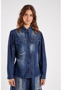 Camisa Jeans Stone Manga Larga Sacada Feminina - Feminino-Azul