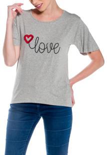 Camiseta Dulcet Bordada Love Cinza
