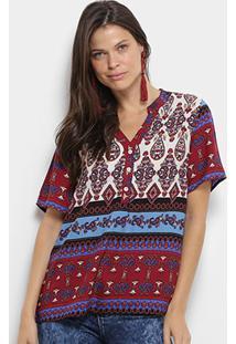 Camisa Mi Manga Curta Estampada Feminina - Feminino-Vermelho