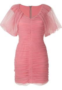 Gloria Coelho Vestido Curto Tule Drapeado - Rosa