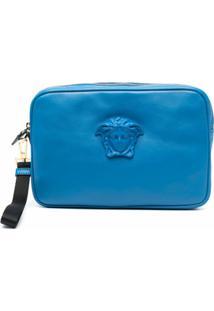 Versace Clutch Com Placa De Medusa - Azul