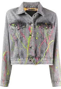 Philipp Plein Jaqueta Jeans Com Estampa De Pinceladas - Cinza