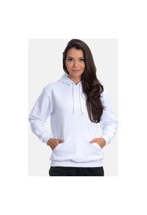 Blusa De Moletom Flanelado Branco Canguru On Fleek