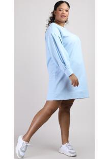 Vestido De Moletom Feminino Plus Size Mindset Curto Manga Bufante Azul Claro