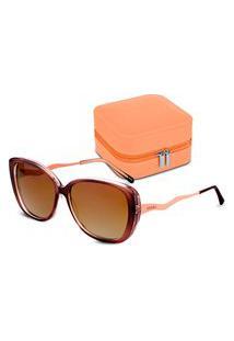 Conjunto Óculos De Sol Gatinho E Porta-Joias