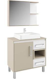 Gabinete Banheiro Tampo De Mdf E Nicho Nude E Branco Lilies
