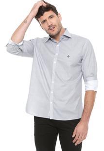 Camisa Dudalina Reta Estampada Branca/Azul-Marinho