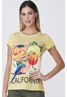T-Shirt Celestine Estampada Amarela - Amarelo/Estampado - Feminino - Viscose - Dafiti