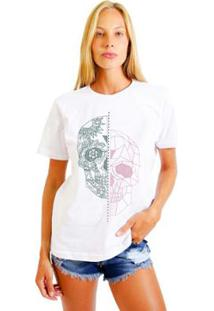 Camiseta Joss Estampada Cracked Skull Feminina - Feminino-Branco