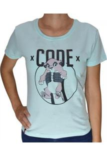 Camiseta Baby Look Code King Feminina - Feminino-Verde