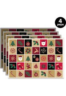 Jogo Americano Mdecore Natal 40X28Cm Colorido 4Pçs