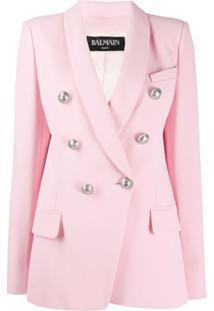 Balmain Blazer Com Aplicação De Botões - Rosa