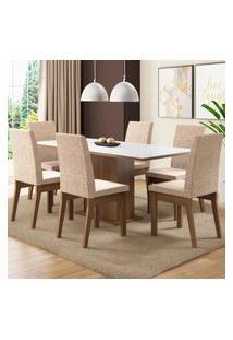 Conjunto Sala De Jantar Madesa Cecília Mesa Tampo De Madeira Com 6 Cadeiras - Rustic/Branco/Fendi Marrom