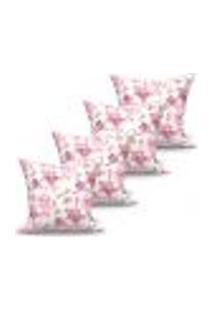 Conjunto De Capas Para Almofada Com 4 Peças Floratta Rosa 60X60 Cm