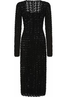 Dolce & Gabbana Vestido De Tricô Com Decote Quadrado - Preto