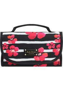 Nécessaire Rocambole Com Estampa Floral- Preta & Rosa