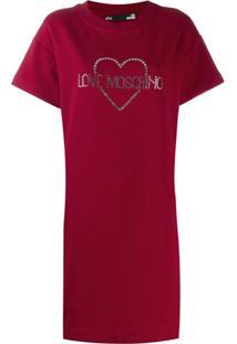 Love Moschino Embellished Logo T-Shirt Dress - Vermelho