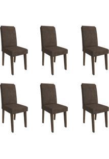 Conjunto Com 6 Cadeiras De Jantar Taís I Suede Marrocos E Cacau