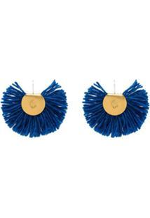 Katerina Makriyianni Par De Brincos Banhado A Ouro 24 - Azul