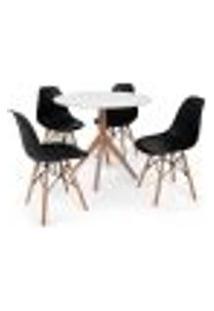 Conjunto Mesa De Jantar Maitê 80Cm Branca Com 4 Cadeiras Charles Eames - Preta