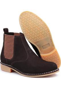 Bota Top Franca Shoes Vira Francesa Couro Masculino - Masculino-Café