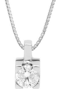 Pingente Solitário Ouro Branco E 17,5 Pontos De Diamantes