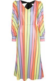 Olivia Rubin Vestido Midi Com Paetês E Listras - Estampado