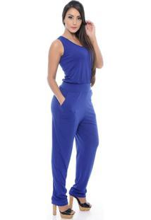 61bacee75 ... Macacão Longo Regata Bruna B'Bonnie - Feminino-Azul Royal