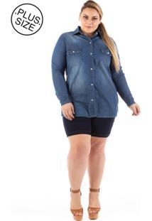 Camisa Jeans Alongada Com Elastano Plus Size - Tricae