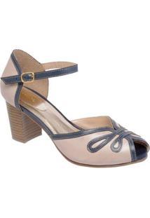 Sandália D&R Shoes Couro Feminina - Feminino-Marinho+Bege