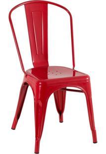 Cadeira Iron Tolix - Industrial - Aço - Vintage - Vermelho