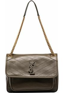 Saint Laurent Medium Niki Leather Shoulder Bag - Verde