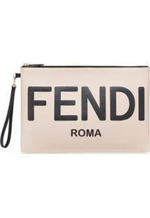 Fendi Clutch Com Logo Gravado - Rosa