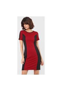Vestido Morena Rosa Curto Bicolor Preto/Vermelho
