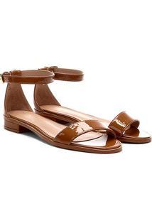 Sandália Shoestock Flat Tira Naked Feminina - Feminino-Castanha