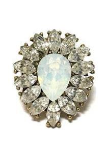 Anel Armazem Rr Bijoux Ouro Velho Cristal Opal - Feminino-Ouro Velho
