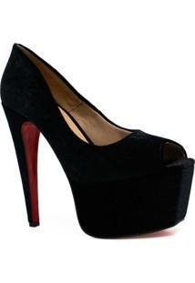 Sapato Zariff Shoes Peep Toe Meia Pata Festa - Feminino-Preto