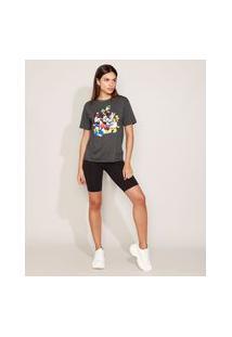 T-Shirt Feminina Mindset Turma Do Mickey Manga Curta Decote Redondo Cinza Mescla Escuro