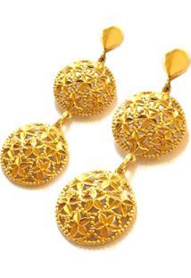 Brinco Prata Mil De Ouro C/ Zircônia Ouro - Kanui