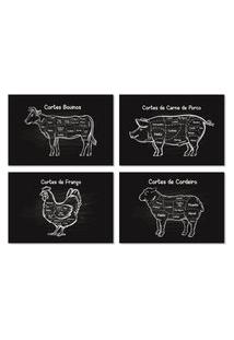 Placas Decorativas Cozinha Cortes De Churrasco 30X40Cm Kit 4Un
