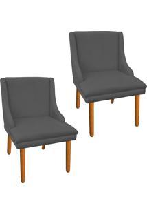 Kit 02 Cadeira Poltrona Decorativa Liz Suede Grafite - D'Rossi