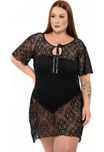 Vestido De Renda Plus Size Preto