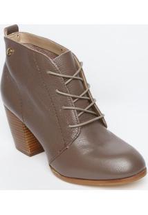 Ankle Boot Em Couro Com Amarração - Marrom Claro - Sjorge Bischoff