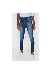 Calça Cropped Jeans Biotipo Skinny Pespontos Azul-Marinho