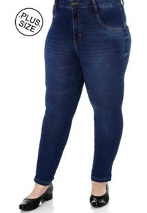 Calça Jeans Plus Size Amuage Skinny Feminina - Feminino-Azul
