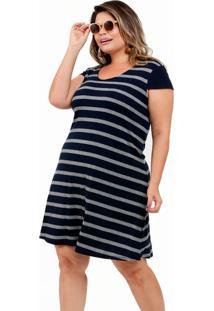 Vestido Feminino Canelado Listrado Plus Size