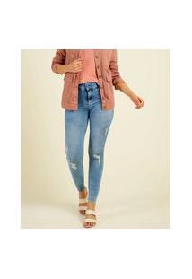 Calça Jeans Destroyed Feminina Skinny